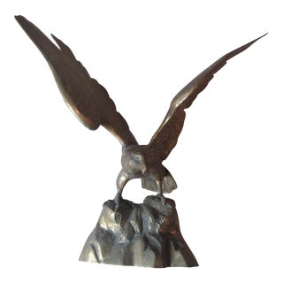 Mid-Century Large Brass Eagle