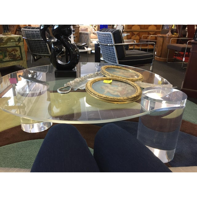 1960s Lucite Column Coffee Table - in the Style of Charles Hollis Jones For Sale - Image 5 of 7