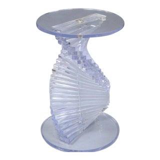 Mid-Century Modern Spiral Stacked Helix Lucite Sculptural Pedestal Table