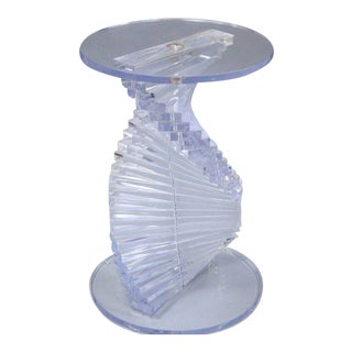 "Vintage 28"" Mid Century Modern Spiral Stacked Helix Lucite Sculptural Pedestal Table"
