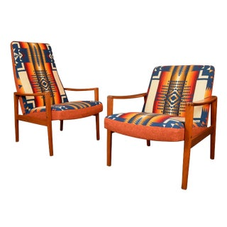 Vintage Danish Mid Century Modern Teak Lounge Chairs - a Pair For Sale