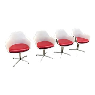 1960s Mid-Century Modern Burke White Shell Dining Chairs - Set of 4 For Sale