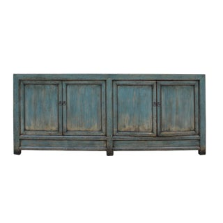 Chinese Distressed Teal Blue Lacquer Tall Long Tv Console Cabinet For Sale