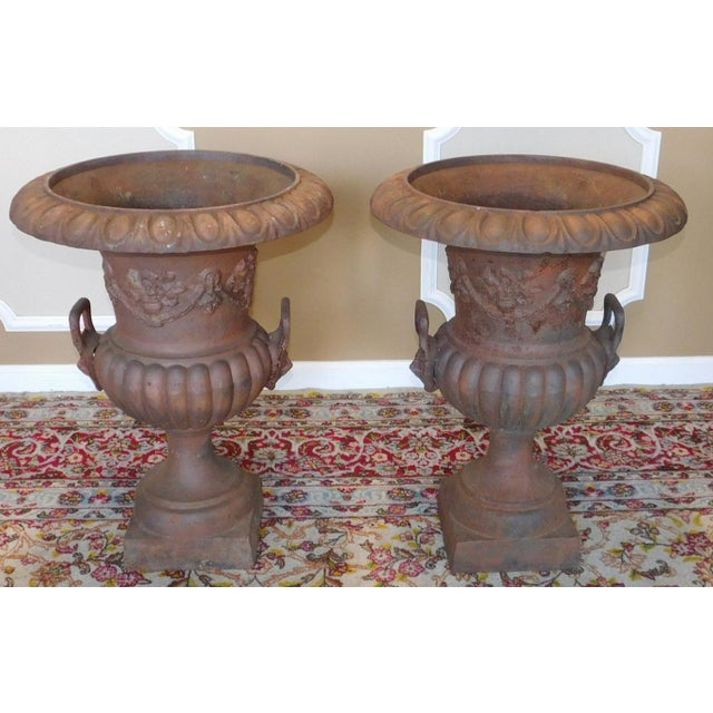 Rusted Cast Iron Garden Urns - A Pair - Image 2 of 6
