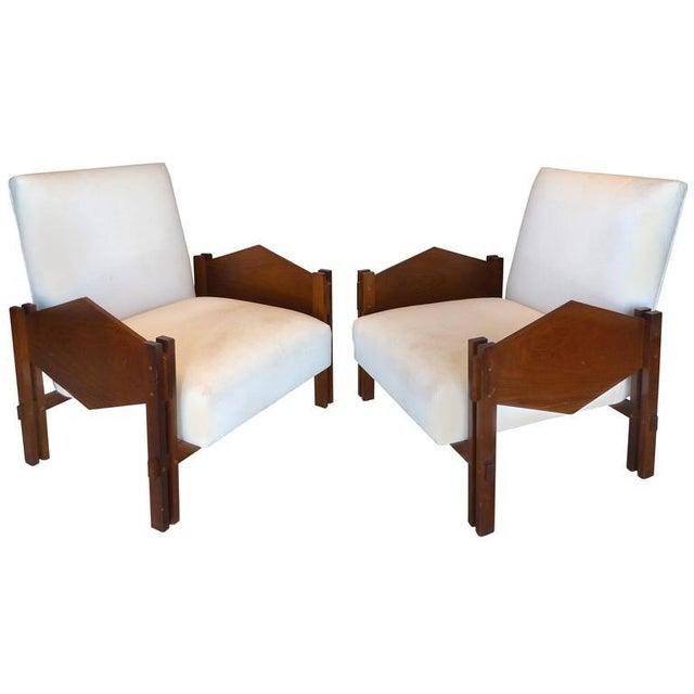 "Jacaranda ""Geometric"" Armchairs by Jose Zanine Caldas Brazil - A Pair For Sale - Image 9 of 9"