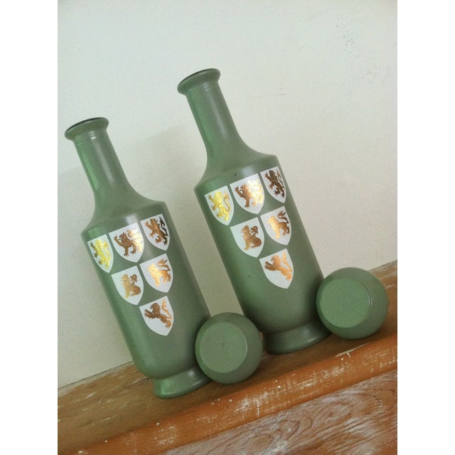 1960s Painted Glass Wine Decanters- A Pair - Image 4 of 6