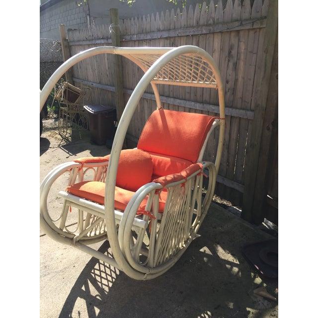 1960s Boho Chic Italian Orange Rattan Rocking Chair For Sale - Image 4 of 5