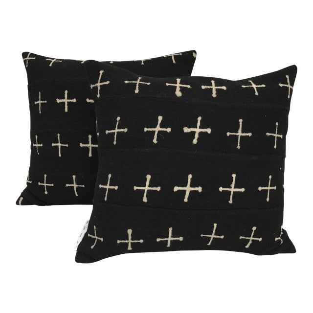 African Mali Tribal Cross Patterned Mud Cloth Pillows- A Pair For Sale