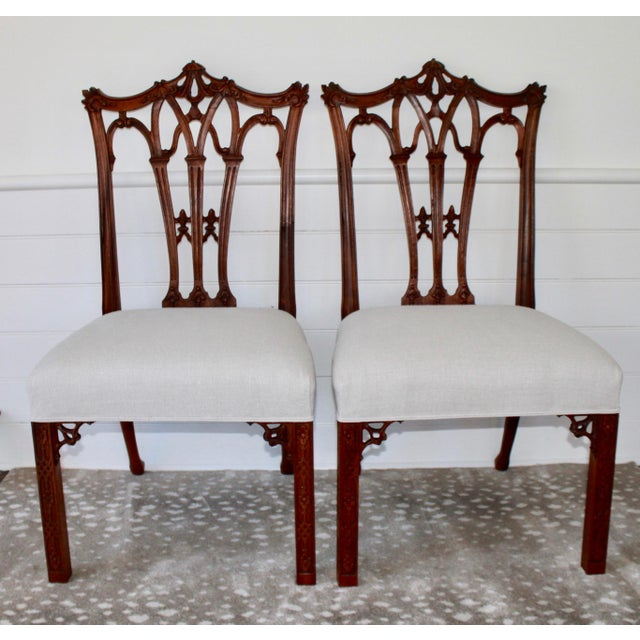 Carved Mahogany Chinese Chippendale Chairs - a Pair For Sale - Image 10 of 10