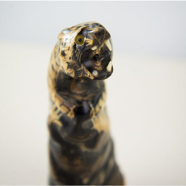 1970s Asian Water Buffalo Horn Jaguar Carving For Sale - Image 5 of 8
