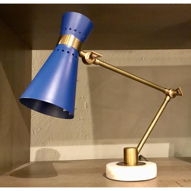 Bungalow 5 Bungalow 5 Modern Blue and Brass Clipper Table Lamp For Sale - Image 4 of 4
