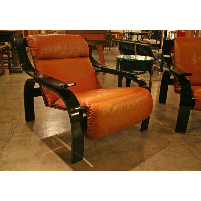 Mid-Century Modern Pair of Marco Zanuso Armchairs in Leather for Arflex For Sale - Image 3 of 7