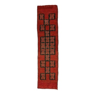 Vintage Berber Moroccan Runner in Red with Mid-Century Modern Style