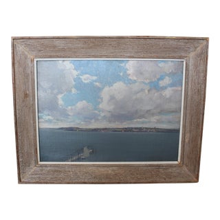 Painting of Seascape With Dock Oil on Canvas For Sale