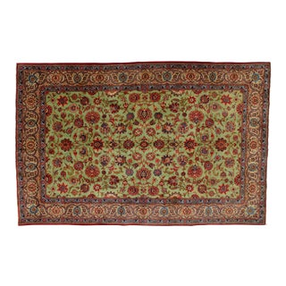 "Antique Green Kashan Carpet- 7' x 10'10"" For Sale"