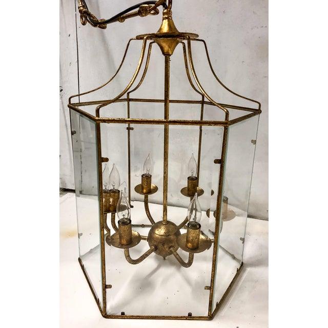 Hollywood Regency Gilt Metal Lantern Chandelier For Sale - Image 3 of 7