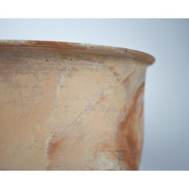 Large Vintage Orange Terra Cotta Swirl Decorative Bowl Planter For Sale - Image 9 of 13