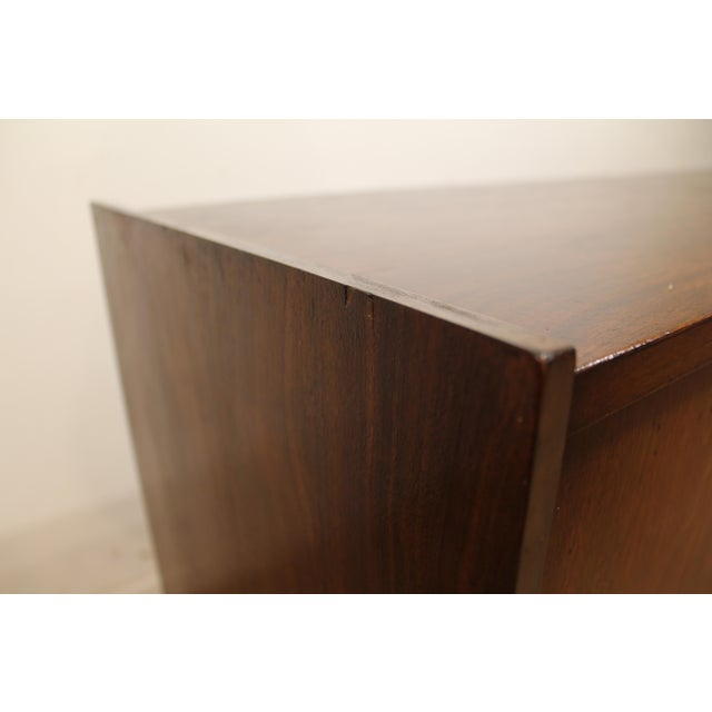 Mid-Century Danish Modern Walnut Sliding Door Floating Base Credenza - Image 7 of 11