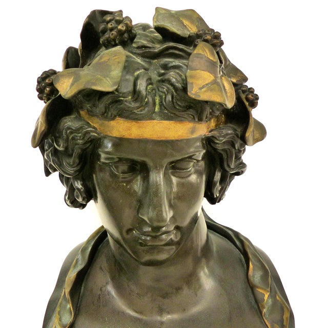Art Nouveau F. Barbedienne Fondeur Bronze Statue of Antinous as Dioniso For Sale - Image 3 of 12