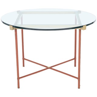Jacques Adnet Leather Covered and Brass Centre Table For Sale