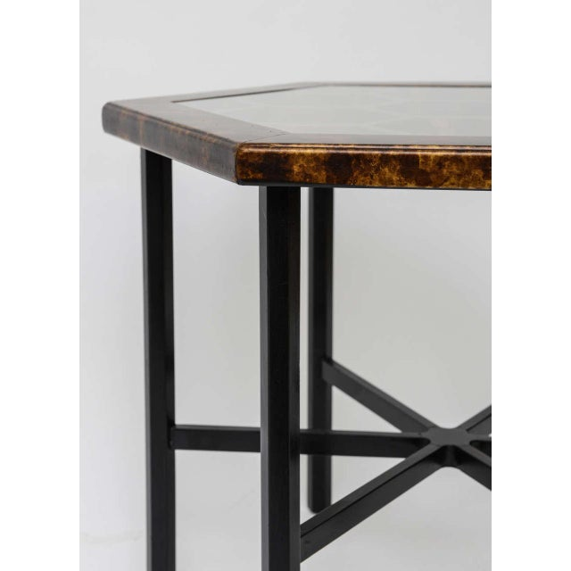 Metal 1960s Asian Widdicomb Pair Hexangonal Faux Tortoise Occasional Tables - a Pair For Sale - Image 7 of 11