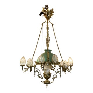 Antique Bronze Early Electric and Kerosene Fixture, Circa 1890-1910. For Sale