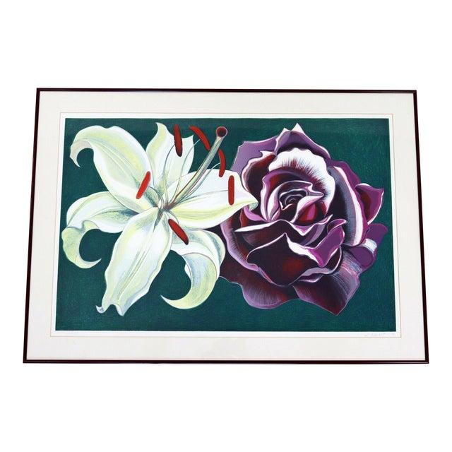 1970s Mid Century Modern Framed Lowell Nesbitt Hand Signed Lithograph Lily & Rose For Sale