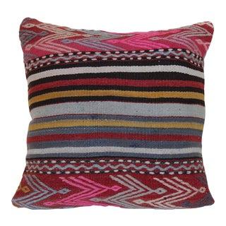 Boho Chic Vintage Kilim Pillow Cover Handmade Kilim Rug Pillow Cover For Sale