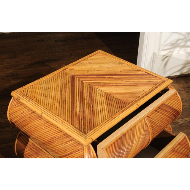 Magnificent Restored Pair of Bullnose Small Chests in Bamboo, Circa 1980 For Sale In Atlanta - Image 6 of 13