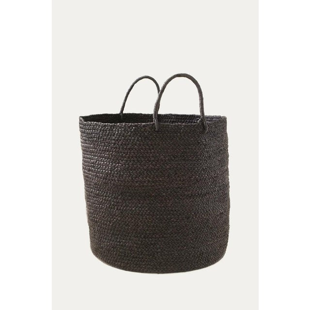 Contemporary Indego Africa Large Handwoven Braided Raffia Basket, Black For Sale - Image 3 of 3