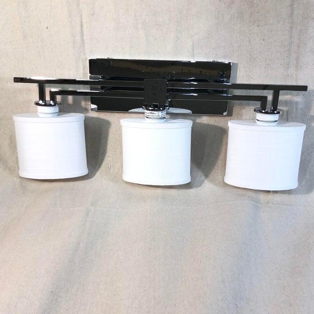 Justice Design 3-Light Polished Chrome Vanity Light For Sale - Image 4 of 12