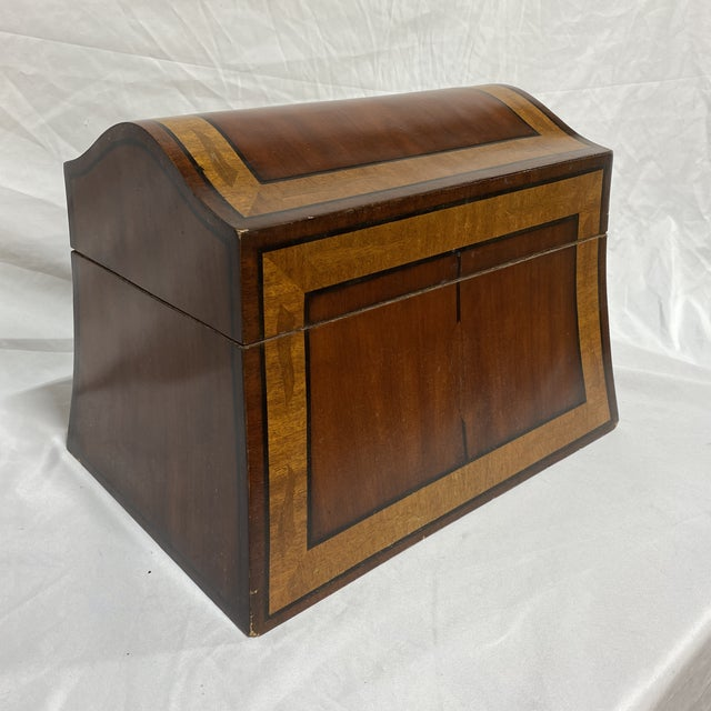 English Maitland-Smith Inlaid Mahogany Box For Sale - Image 3 of 13