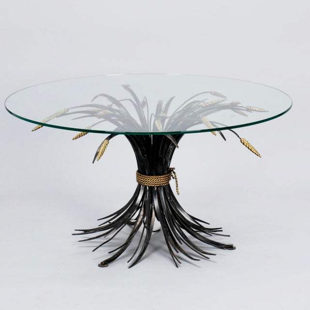 Black Italian Black and Gilt Wheat Sheaf Table With Glass Top For Sale - Image 8 of 8