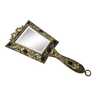 1890s Antique Victorian Brass Vanity Mirror For Sale