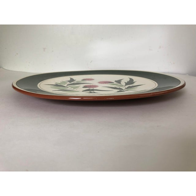"Mediterranean Midcentury Stangl Pottery Thistle 14.5""d Serving Platter For Sale - Image 3 of 6"