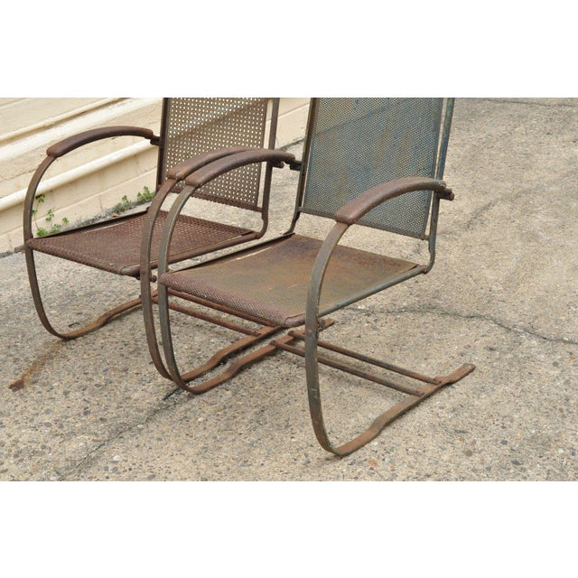 Mid-Century Modern Vintage Steel Metal Mesh His and Hers Patio Bouncer Lounge Chairs - a Pair For Sale - Image 3 of 12