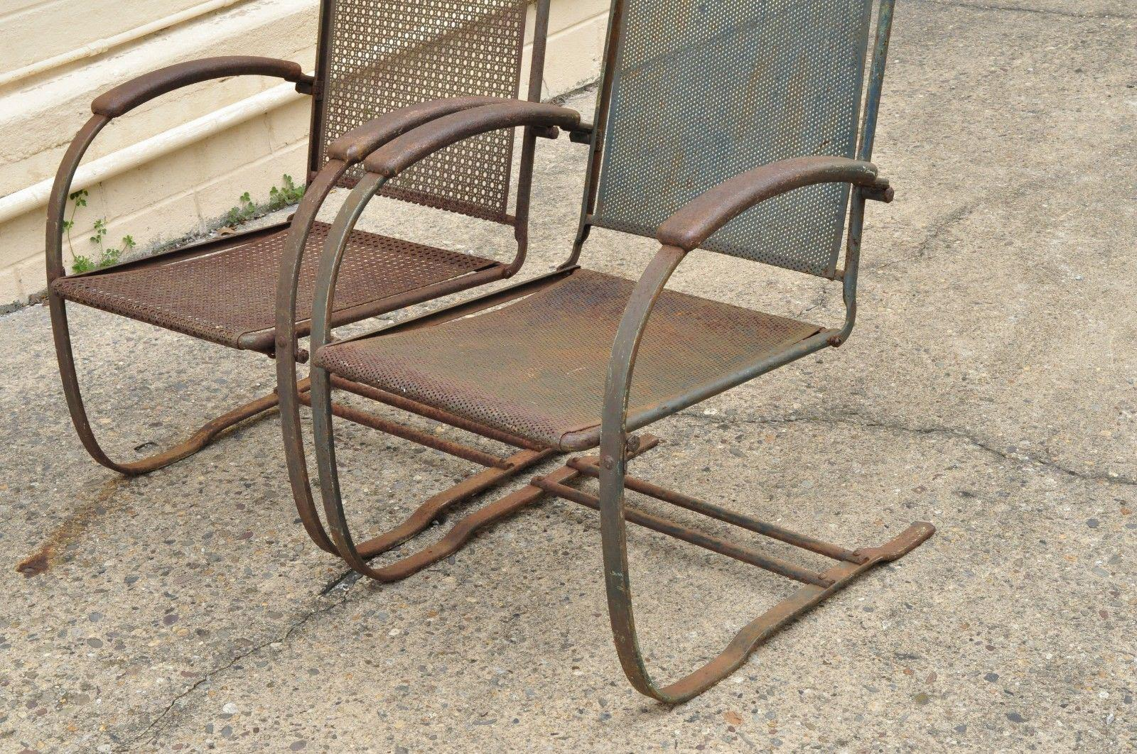 Mid Century Modern Vintage Steel Metal Mesh His And Hers Patio Bouncer Lounge  Chairs