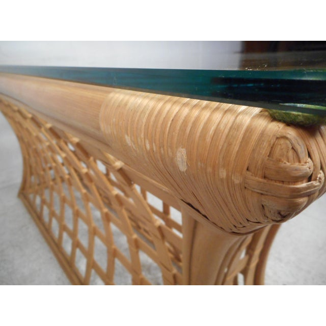 Vintage Modern Bamboo and Glass Console Table For Sale - Image 10 of 12