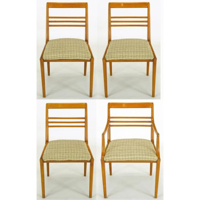 Clean lined set of 4 bleached walnut dining chairs by Renzo Rutili for Johnson Furniture. The three sides chairs and...