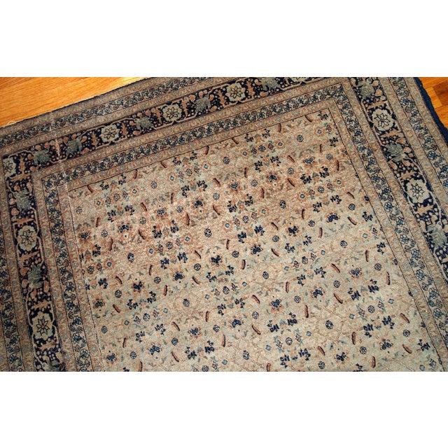 1880s Handmade Antique Persian Tabriz Hajalili Rug 4.2' X 6.5' For Sale - Image 9 of 13