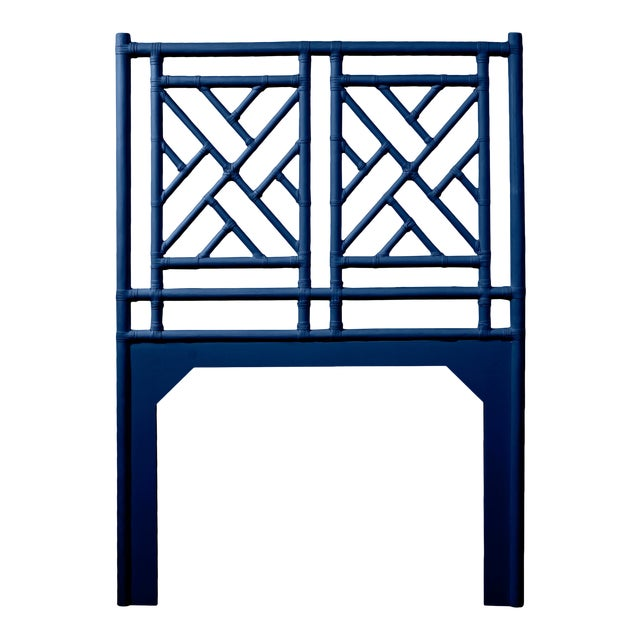 Chippendale Headboard Twin - Navy Blue For Sale