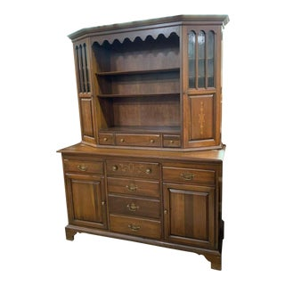Davis Cabinet Co, Solid Cherry Dining Room Hutch Display Cabinet For Sale