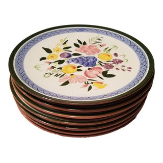 "7 Stangl Redware Pottery "" Fruit and Flowers"" Dinner Plates For Sale"