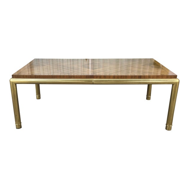 Vintage Brass & Walnut Mastercraft Dining Table For Sale