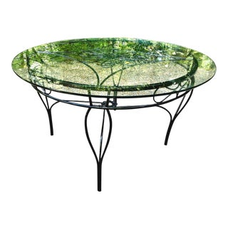Mid-Century Modern Wrought Iron and Glass Table For Sale