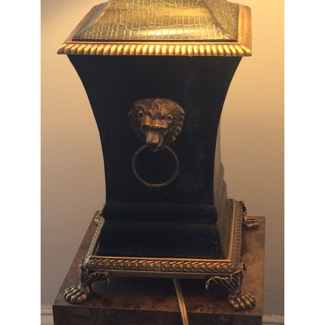 Bronze Decorator Library Lamp With Lion Heads - Image 3 of 5