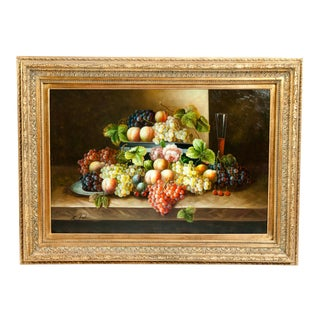 Fruit Still Life Giltwood Framed Oil / Canvas Painting For Sale