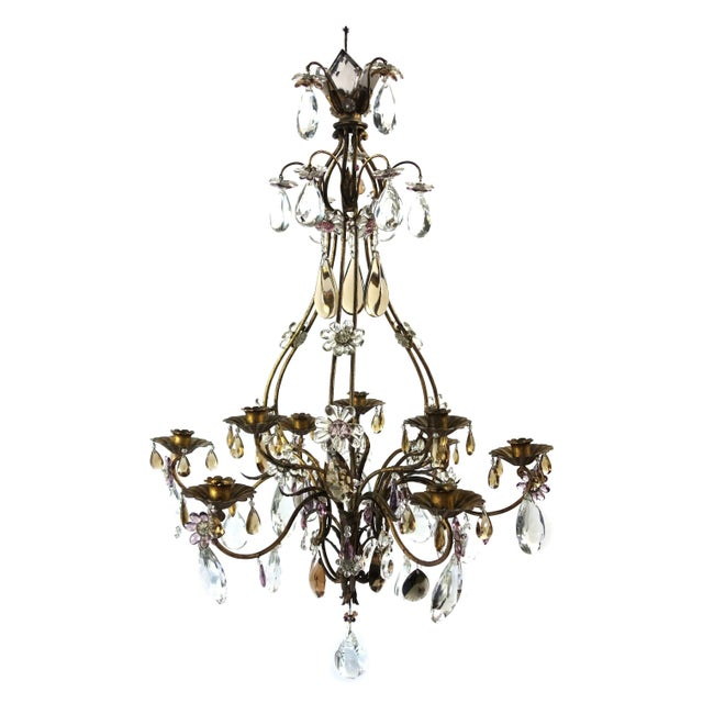 Brown French Candle Chandelier With Crystal Drops For Sale - Image 8 of 8