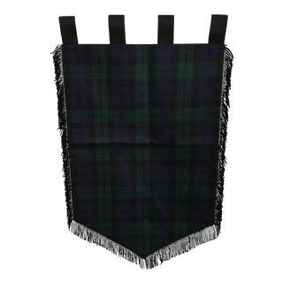 Medieval Style Fringed Navy & Hunter Green Plaid Banner For Sale