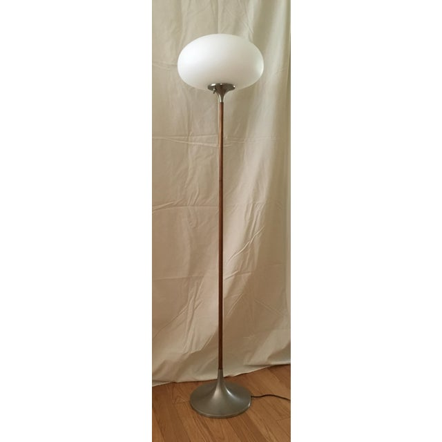 Laurel Mushroom floor lamp teak wood, brushed chrome metal, and blown frosted glass shade. Small repair of the veneer on...